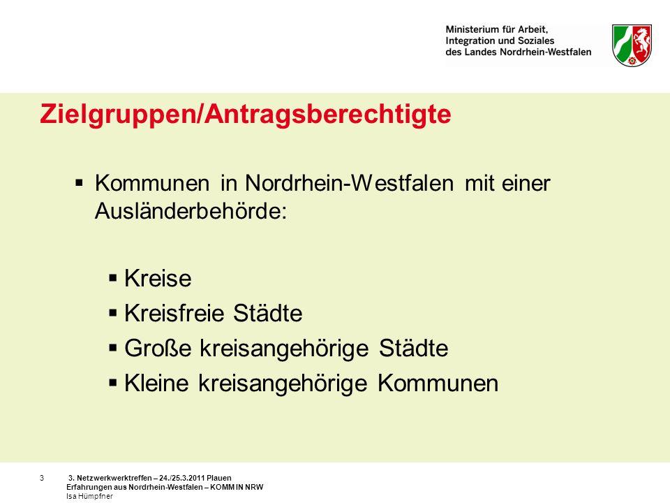 3. Netzwerkwerktreffen – 24./25.3.2011 Plauen Erfahrungen aus Nordrhein-Westfalen – KOMM IN NRW Isa Hümpfner 3 Zielgruppen/Antragsberechtigte Kommunen