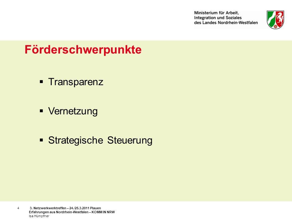3. Netzwerkwerktreffen – 24./25.3.2011 Plauen Erfahrungen aus Nordrhein-Westfalen – KOMM IN NRW Isa Hümpfner 4 Förderschwerpunkte Transparenz Vernetzu