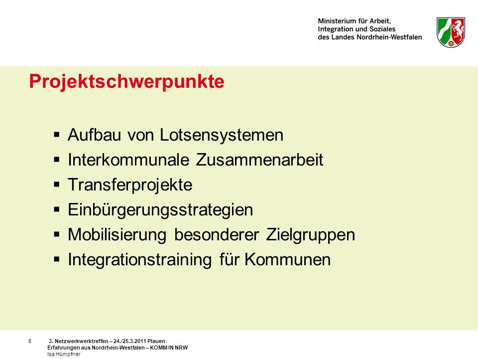 3. Netzwerkwerktreffen – 24./25.3.2011 Plauen Erfahrungen aus Nordrhein-Westfalen – KOMM IN NRW Isa Hümpfner 5 Projektschwerpunkte Aufbau von Lotsensy