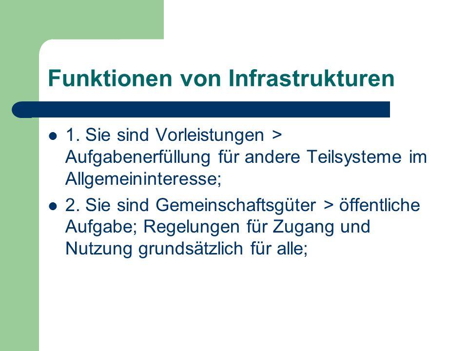 Funktionen von Infrastrukturen 1. Sie sind Vorleistungen > Aufgabenerfüllung für andere Teilsysteme im Allgemeininteresse; 2. Sie sind Gemeinschaftsgü