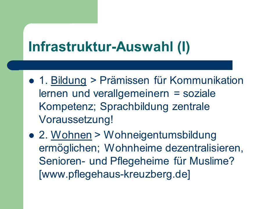 Infrastruktur-Auswahl (I) 1. Bildung > Prämissen für Kommunikation lernen und verallgemeinern = soziale Kompetenz; Sprachbildung zentrale Voraussetzun
