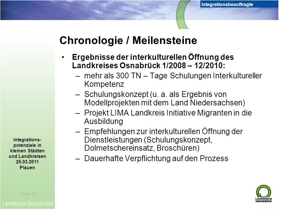 Folie 11 Integrationsbeauftragte Integrations- potenziale in kleinen Städten und Landkreisen 25.03.2011 Plauen 11 Ergebnisse der interkulturellen Öffn