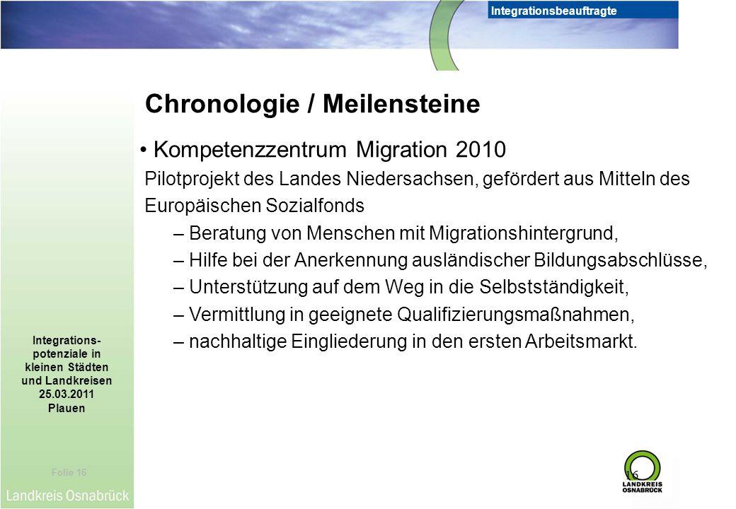 Folie 16 Integrationsbeauftragte Integrations- potenziale in kleinen Städten und Landkreisen 25.03.2011 Plauen 16 Chronologie / Meilensteine Kompetenz