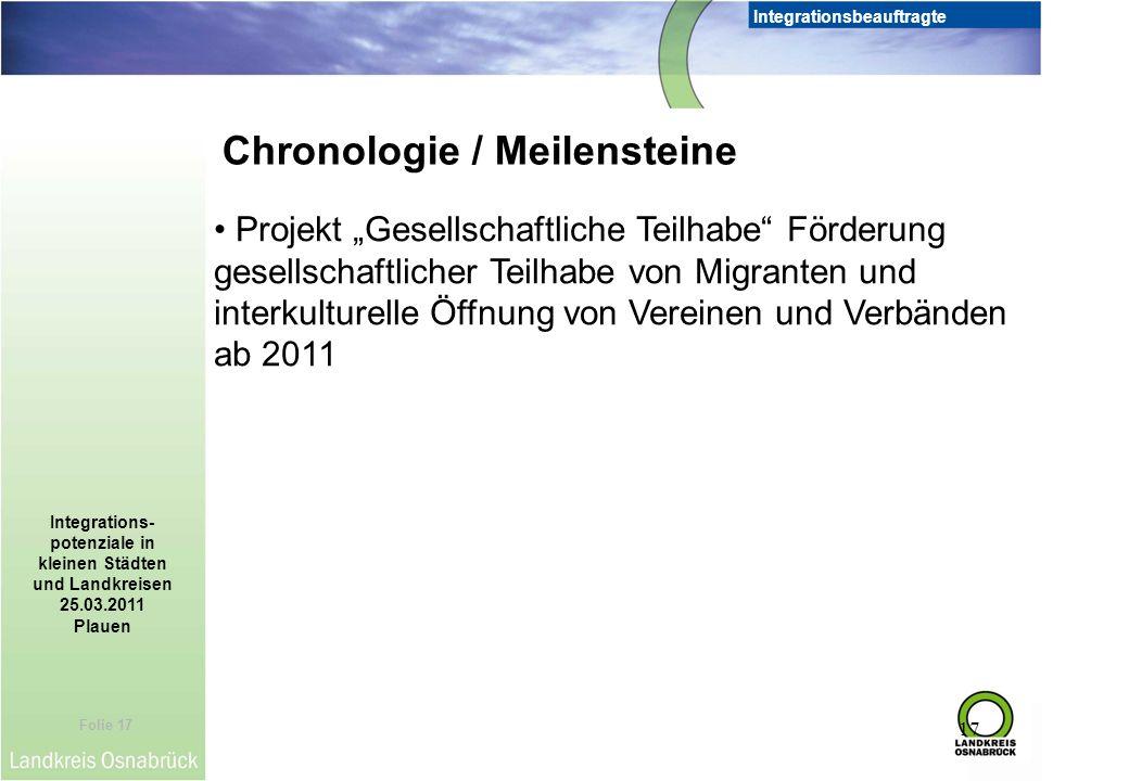 Folie 17 Integrationsbeauftragte Integrations- potenziale in kleinen Städten und Landkreisen 25.03.2011 Plauen 17 Chronologie / Meilensteine Projekt G