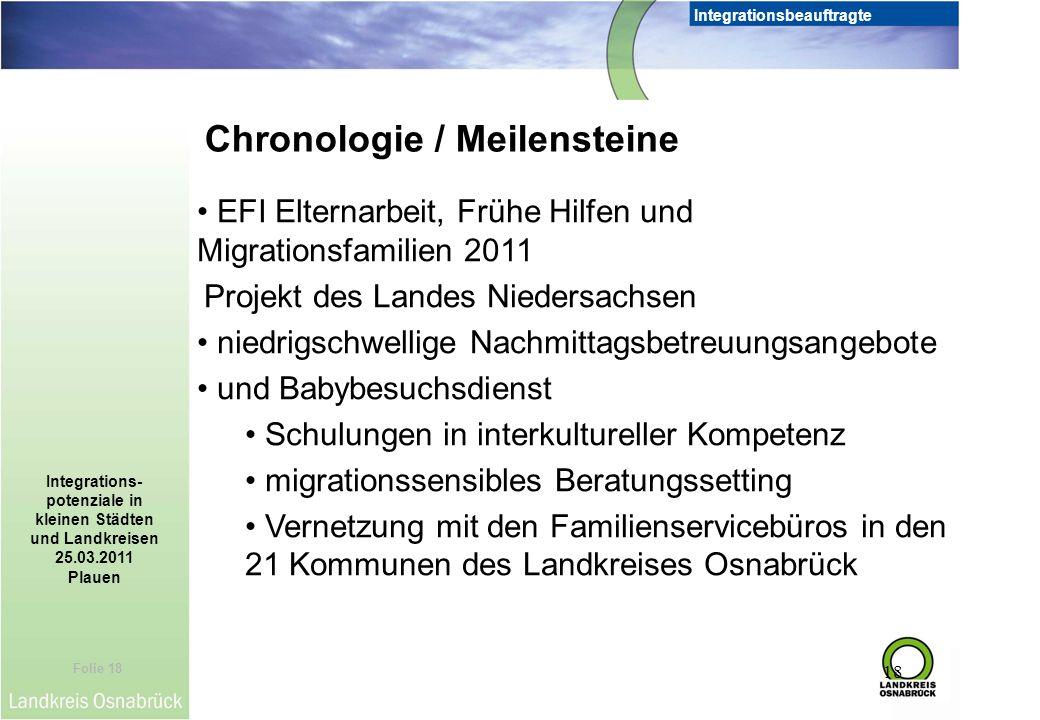 Folie 18 Integrationsbeauftragte Integrations- potenziale in kleinen Städten und Landkreisen 25.03.2011 Plauen 18 Chronologie / Meilensteine EFI Elter