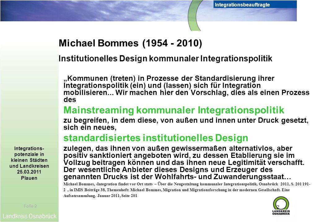 Folie 2 Integrationsbeauftragte Integrations- potenziale in kleinen Städten und Landkreisen 25.03.2011 Plauen 2 Kommunen (treten) in Prozesse der Stan