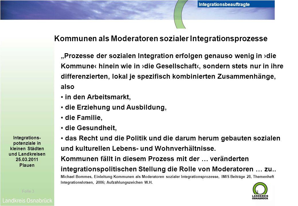 Folie 3 Integrationsbeauftragte Integrations- potenziale in kleinen Städten und Landkreisen 25.03.2011 Plauen 3 Prozesse der sozialen Integration erfo