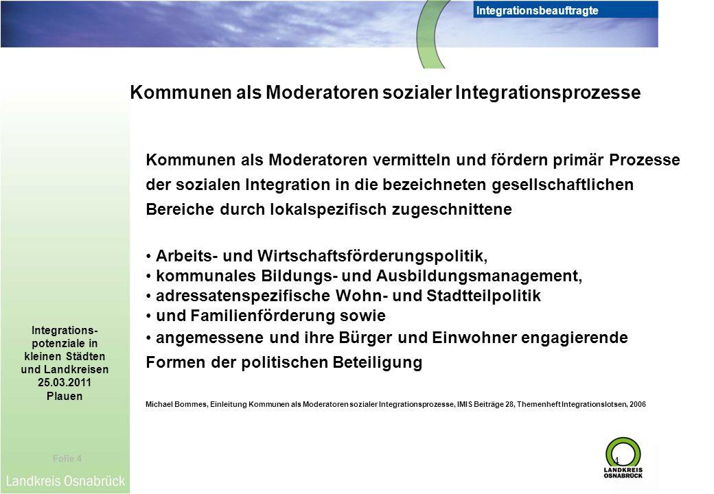 Folie 4 Integrationsbeauftragte Integrations- potenziale in kleinen Städten und Landkreisen 25.03.2011 Plauen 4 Kommunen als Moderatoren vermitteln un
