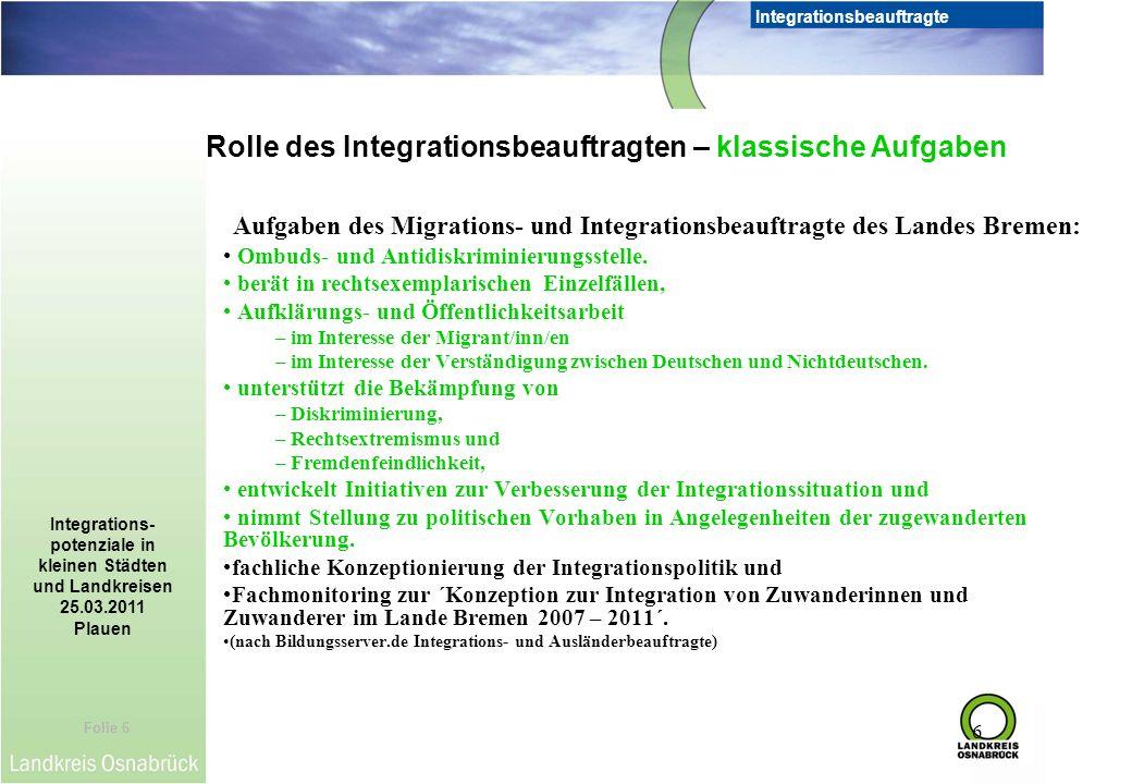 Folie 6 Integrationsbeauftragte Integrations- potenziale in kleinen Städten und Landkreisen 25.03.2011 Plauen 6 Aufgaben des Migrations- und Integrati