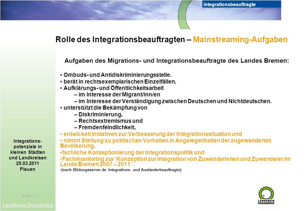 Folie 7 Integrationsbeauftragte Integrations- potenziale in kleinen Städten und Landkreisen 25.03.2011 Plauen 7 Aufgaben des Migrations- und Integrati