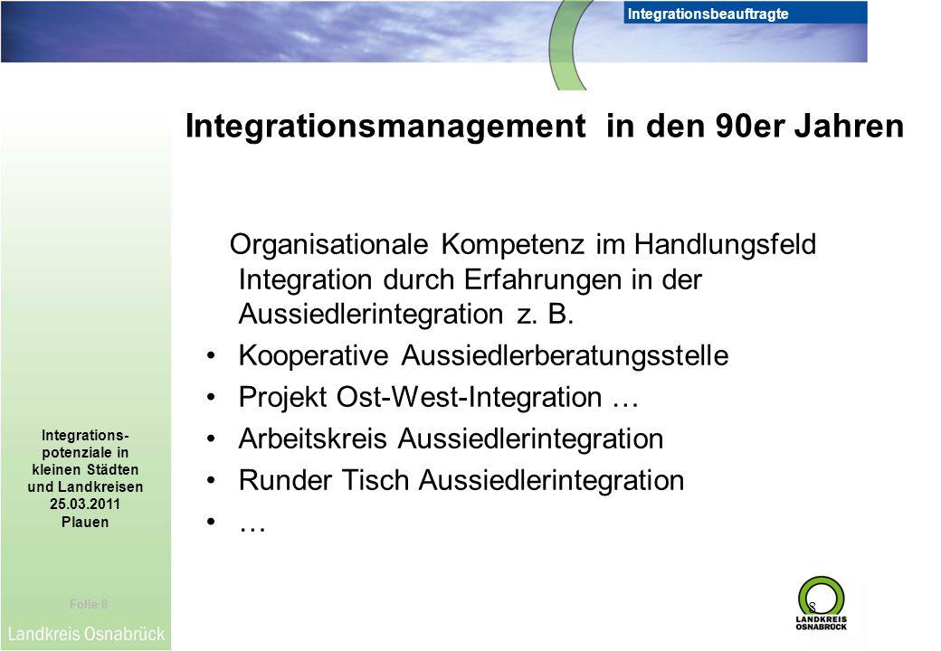 Folie 8 Integrationsbeauftragte Integrations- potenziale in kleinen Städten und Landkreisen 25.03.2011 Plauen 8 Organisationale Kompetenz im Handlungs