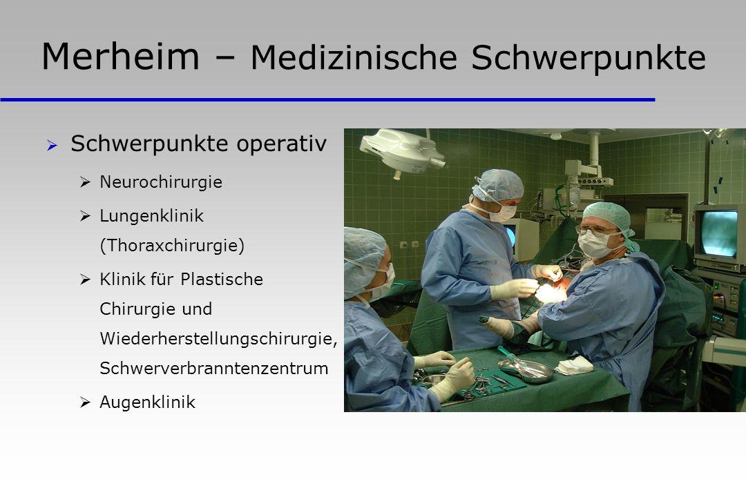Merheim – Medizinische Schwerpunkte Schwerpunkte operativ Neurochirurgie Lungenklinik (Thoraxchirurgie) Klinik für Plastische Chirurgie und Wiederherstellungschirurgie, Schwerverbranntenzentrum Augenklinik