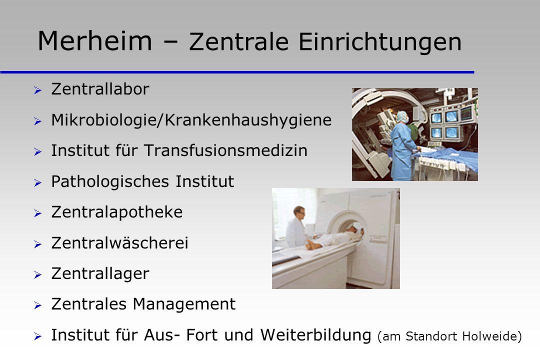 Merheim – Zentrale Einrichtungen Zentrallabor Mikrobiologie/Krankenhaushygiene Institut für Transfusionsmedizin Pathologisches Institut Zentralapothek