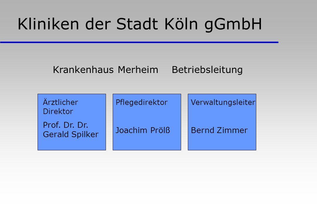 Kliniken der Stadt Köln gGmbH Ärztlicher Direktor Prof. Dr. Dr. Gerald Spilker Krankenhaus Merheim Betriebsleitung Pflegedirektor Joachim Prölß Verwal