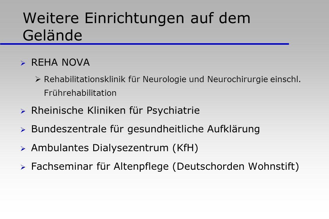 Weitere Einrichtungen auf dem Gelände REHA NOVA Rehabilitationsklinik für Neurologie und Neurochirurgie einschl. Frührehabilitation Rheinische Klinike
