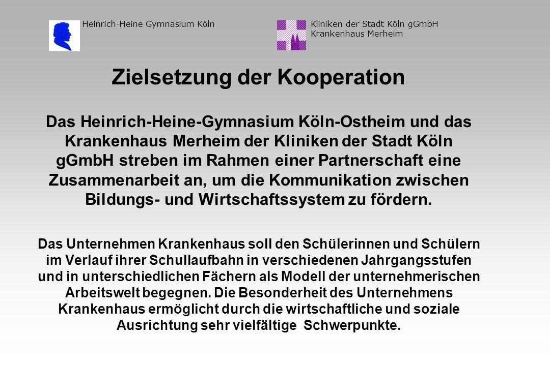 Kliniken der Stadt Köln gGmbH Krankenhaus Merheim Heinrich-Heine Gymnasium Köln Zielsetzung der Kooperation Das Heinrich-Heine-Gymnasium Köln-Ostheim und das Krankenhaus Merheim der Kliniken der Stadt Köln gGmbH streben im Rahmen einer Partnerschaft eine Zusammenarbeit an, um die Kommunikation zwischen Bildungs- und Wirtschaftssystem zu fördern.