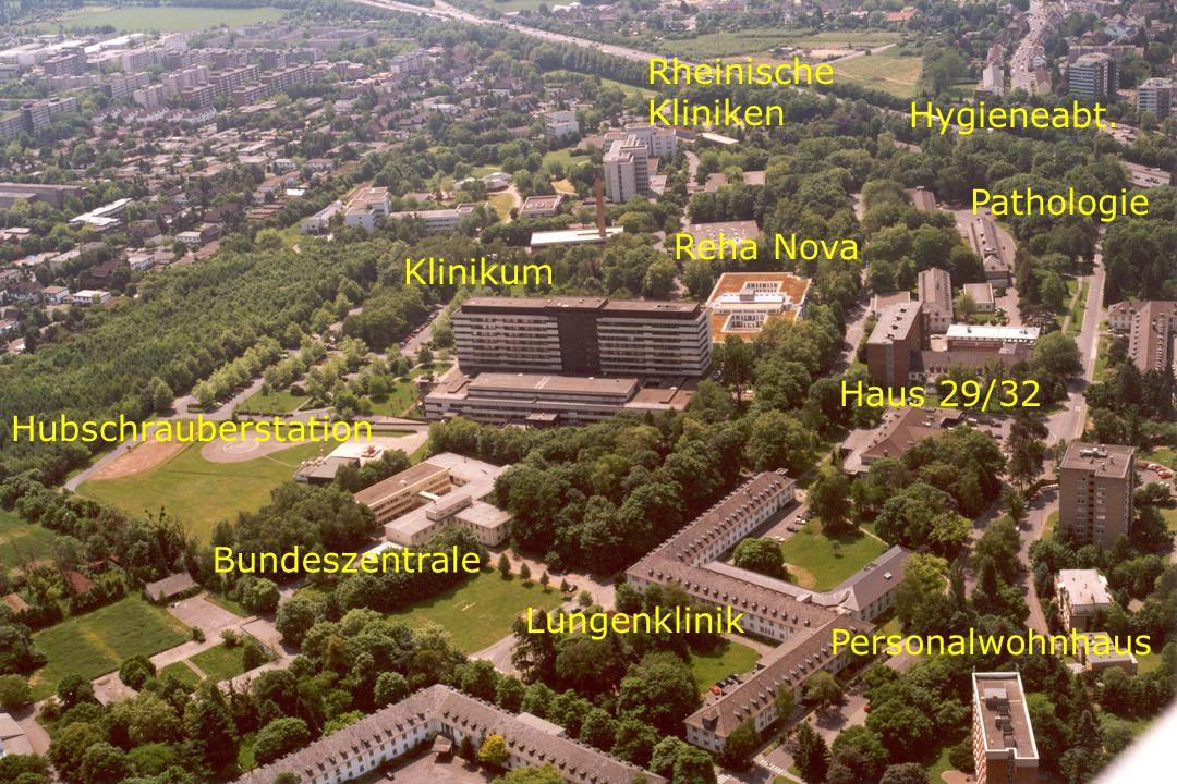 Klinikum Rheinische Kliniken Personalwohnhaus Lungenklinik Reha Nova Pathologie Hubschrauberstation Bundeszentrale Haus 29/32 Hygieneabt.