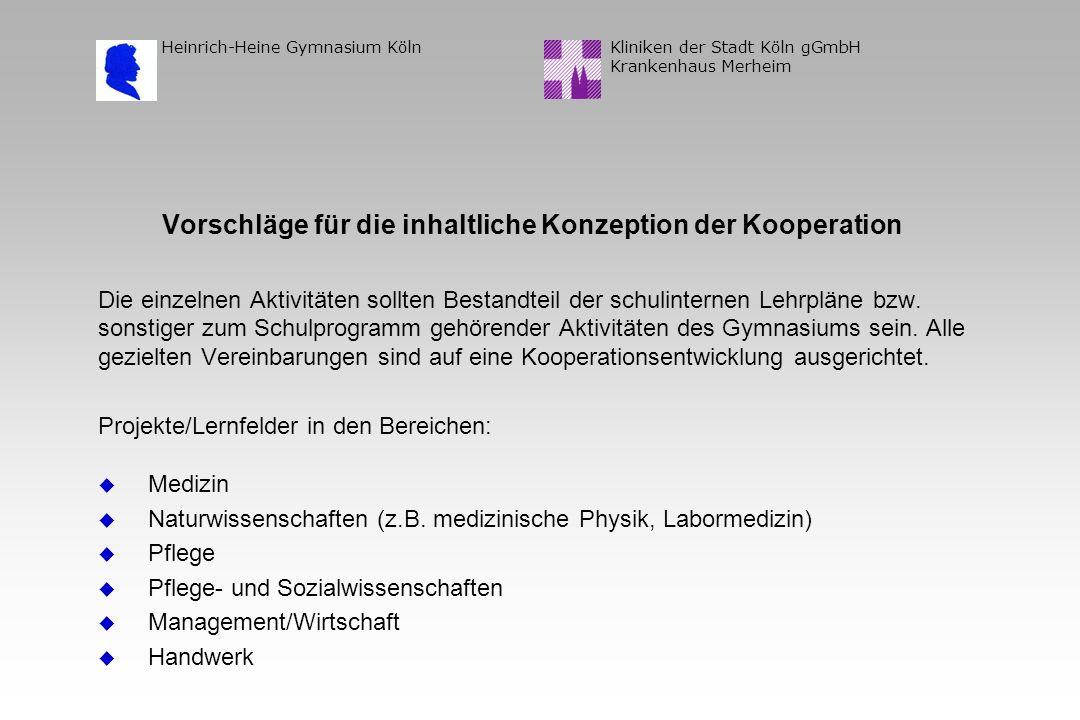 Kliniken der Stadt Köln gGmbH Krankenhaus Merheim Heinrich-Heine Gymnasium Köln Vorschläge für die inhaltliche Konzeption der Kooperation Die einzelnen Aktivitäten sollten Bestandteil der schulinternen Lehrpläne bzw.