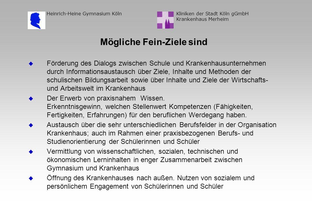 Kliniken der Stadt Köln gGmbH Krankenhaus Merheim Heinrich-Heine Gymnasium Köln Mögliche Fein-Ziele sind Förderung des Dialogs zwischen Schule und Kra