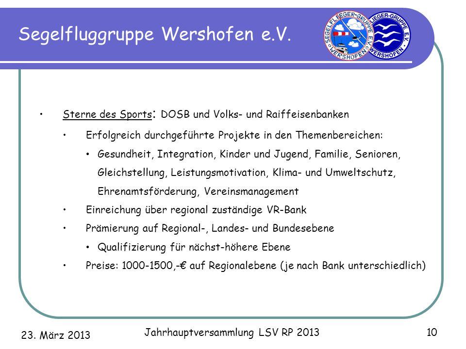 23. März 2013 Jahrhauptversammlung LSV RP 2013 10 Segelfluggruppe Wershofen e.V. Sterne des Sports : DOSB und Volks- und Raiffeisenbanken Erfolgreich