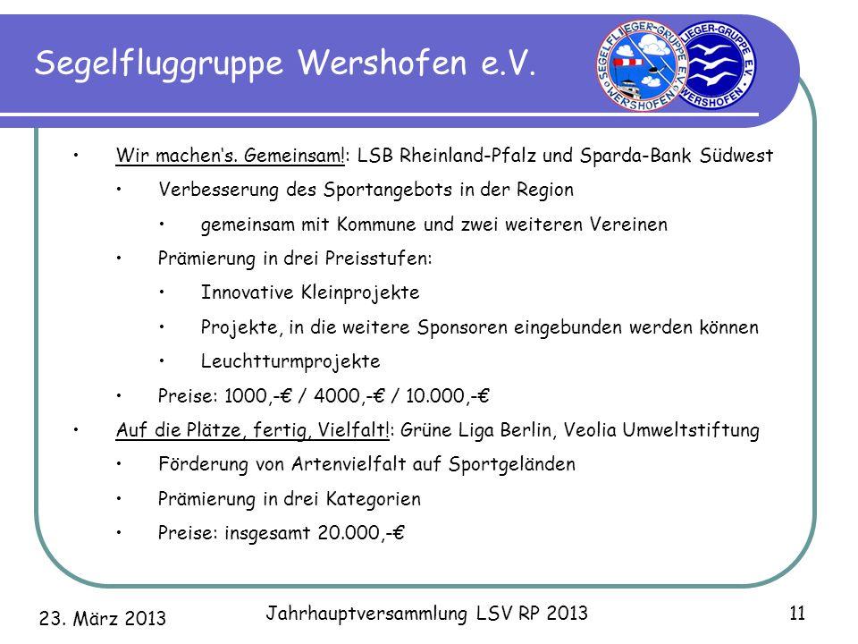 23. März 2013 Jahrhauptversammlung LSV RP 2013 11 Segelfluggruppe Wershofen e.V. Wir machens. Gemeinsam!: LSB Rheinland-Pfalz und Sparda-Bank Südwest