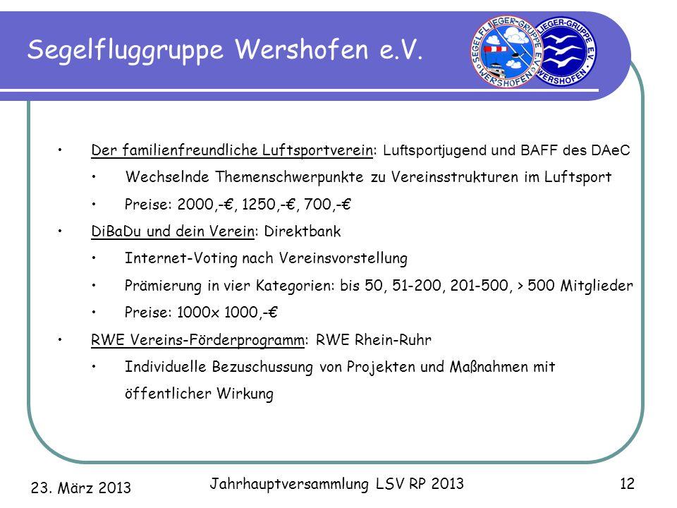 23. März 2013 Jahrhauptversammlung LSV RP 2013 12 Segelfluggruppe Wershofen e.V. Der familienfreundliche Luftsportverein: Luftsportjugend und BAFF des