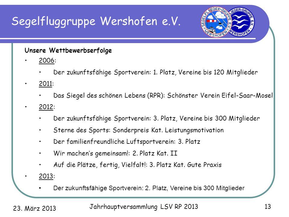 23. März 2013 Jahrhauptversammlung LSV RP 2013 13 Segelfluggruppe Wershofen e.V. Unsere Wettbewerbserfolge 2006: Der zukunftsfähige Sportverein: 1. Pl