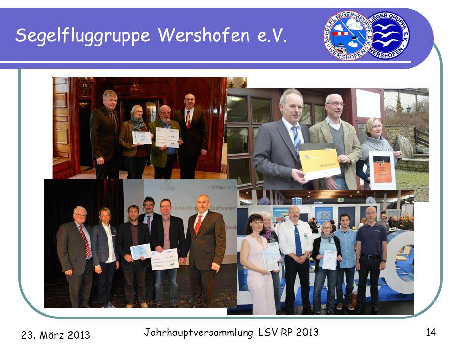 23. März 2013 Jahrhauptversammlung LSV RP 2013 14 Segelfluggruppe Wershofen e.V.