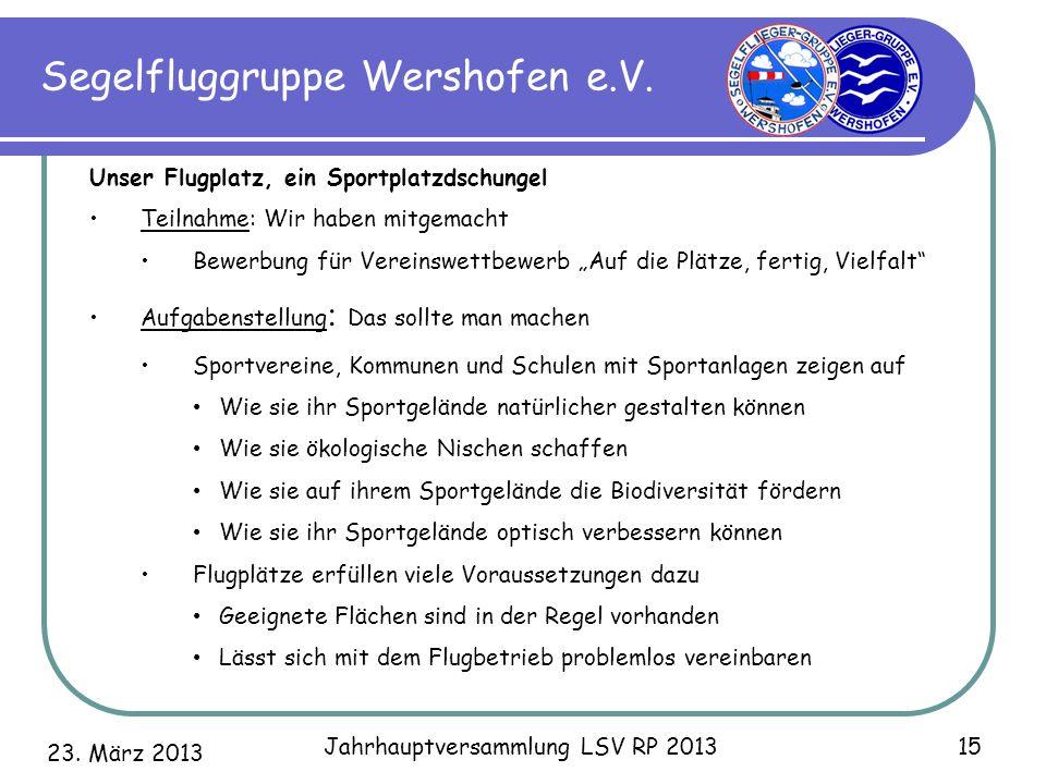 23. März 2013 Jahrhauptversammlung LSV RP 2013 15 Segelfluggruppe Wershofen e.V. Unser Flugplatz, ein Sportplatzdschungel Teilnahme: Wir haben mitgema
