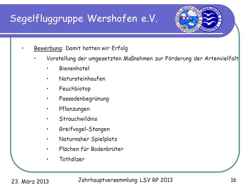 23. März 2013 Jahrhauptversammlung LSV RP 2013 16 Segelfluggruppe Wershofen e.V. Bewerbung: Damit hatten wir Erfolg Vorstellung der umgesetzten Maßnah