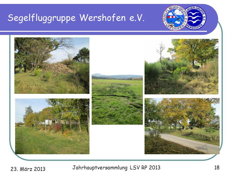 23. März 2013 Jahrhauptversammlung LSV RP 2013 18 Segelfluggruppe Wershofen e.V.