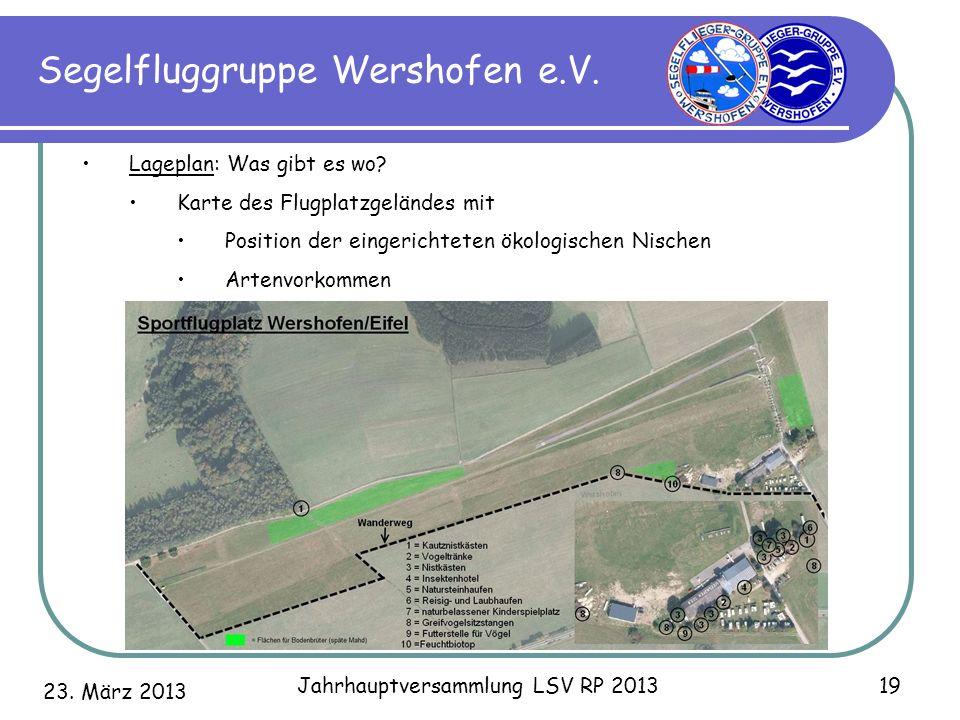 23. März 2013 Jahrhauptversammlung LSV RP 2013 19 Segelfluggruppe Wershofen e.V. Lageplan: Was gibt es wo? Karte des Flugplatzgeländes mit Position de