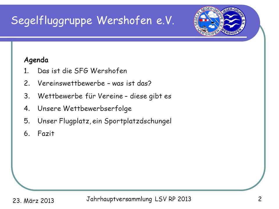 23. März 2013 Jahrhauptversammlung LSV RP 2013 2 Segelfluggruppe Wershofen e.V. Agenda 1.Das ist die SFG Wershofen 2.Vereinswettbewerbe – was ist das?