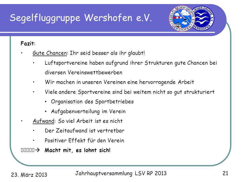 23. März 2013 Jahrhauptversammlung LSV RP 2013 21 Segelfluggruppe Wershofen e.V. Fazit: Gute Chancen: Ihr seid besser als ihr glaubt! Luftsportvereine