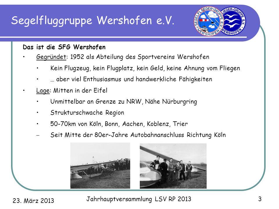 23. März 2013 Jahrhauptversammlung LSV RP 2013 3 Segelfluggruppe Wershofen e.V. Das ist die SFG Wershofen Gegründet: 1952 als Abteilung des Sportverei