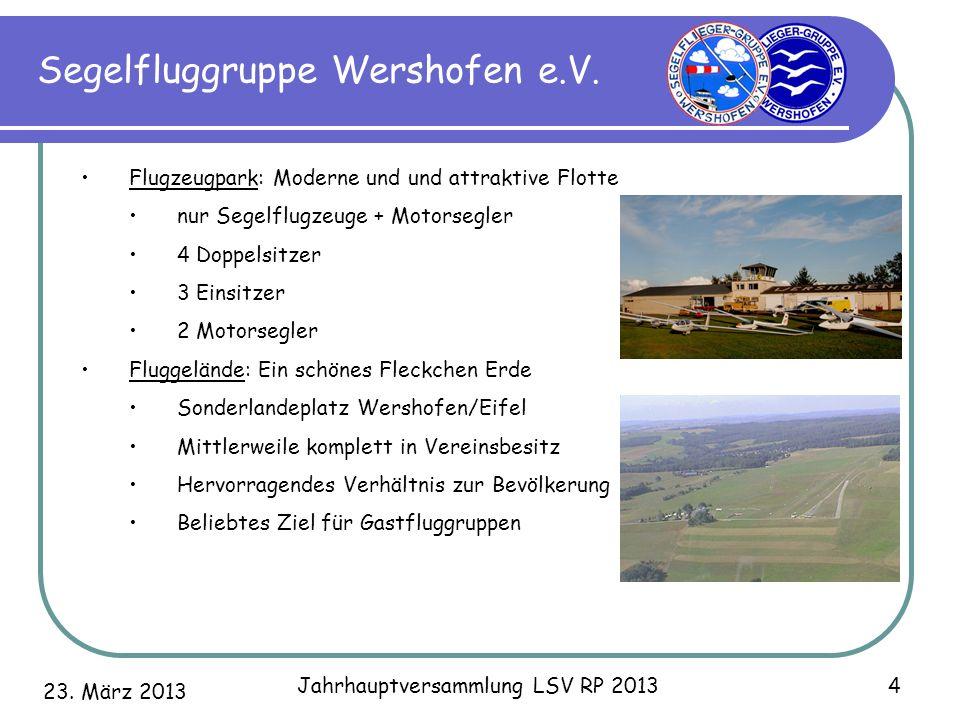 23. März 2013 Jahrhauptversammlung LSV RP 2013 4 Segelfluggruppe Wershofen e.V. Flugzeugpark: Moderne und und attraktive Flotte nur Segelflugzeuge + M