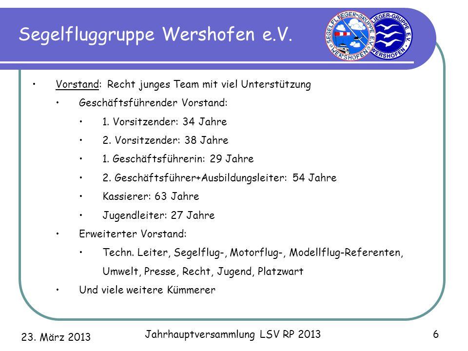 23. März 2013 Jahrhauptversammlung LSV RP 2013 6 Segelfluggruppe Wershofen e.V. Vorstand: Recht junges Team mit viel Unterstützung Geschäftsführender