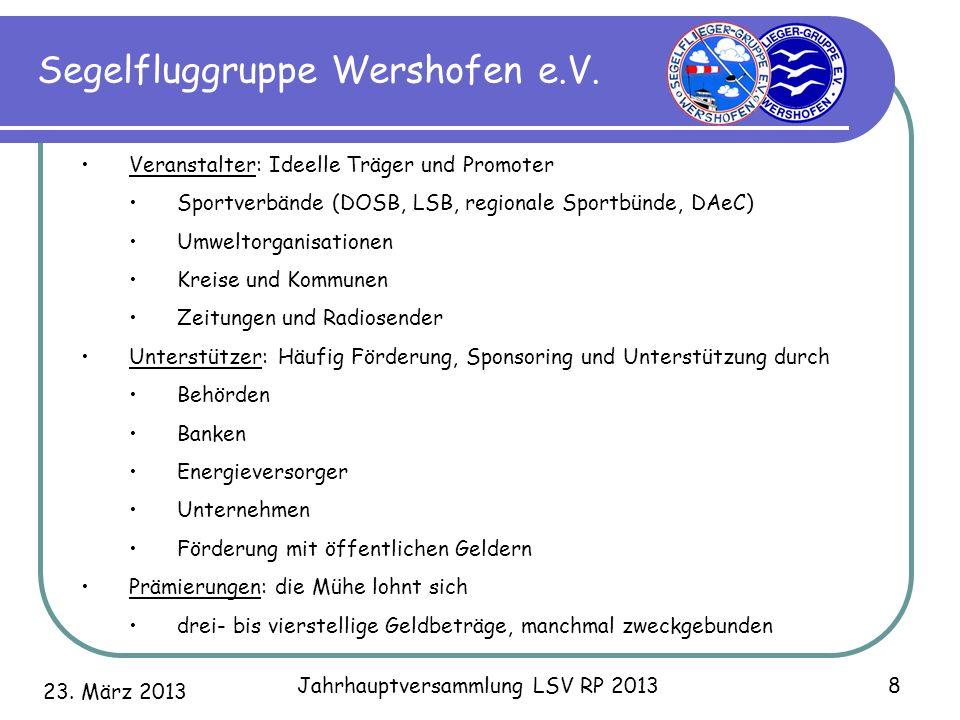 23. März 2013 Jahrhauptversammlung LSV RP 2013 8 Segelfluggruppe Wershofen e.V. Veranstalter: Ideelle Träger und Promoter Sportverbände (DOSB, LSB, re