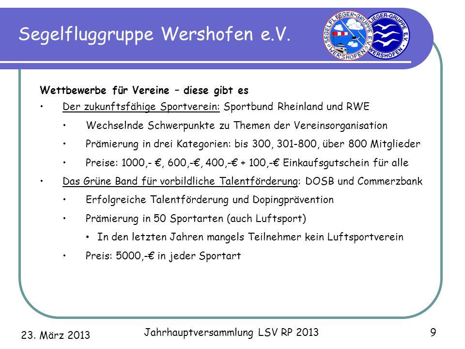 23. März 2013 Jahrhauptversammlung LSV RP 2013 9 Segelfluggruppe Wershofen e.V. Wettbewerbe für Vereine – diese gibt es Der zukunftsfähige Sportverein