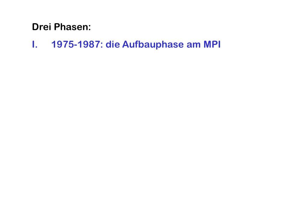 Drei Phasen: I.1975-1987: die Aufbauphase am MPI