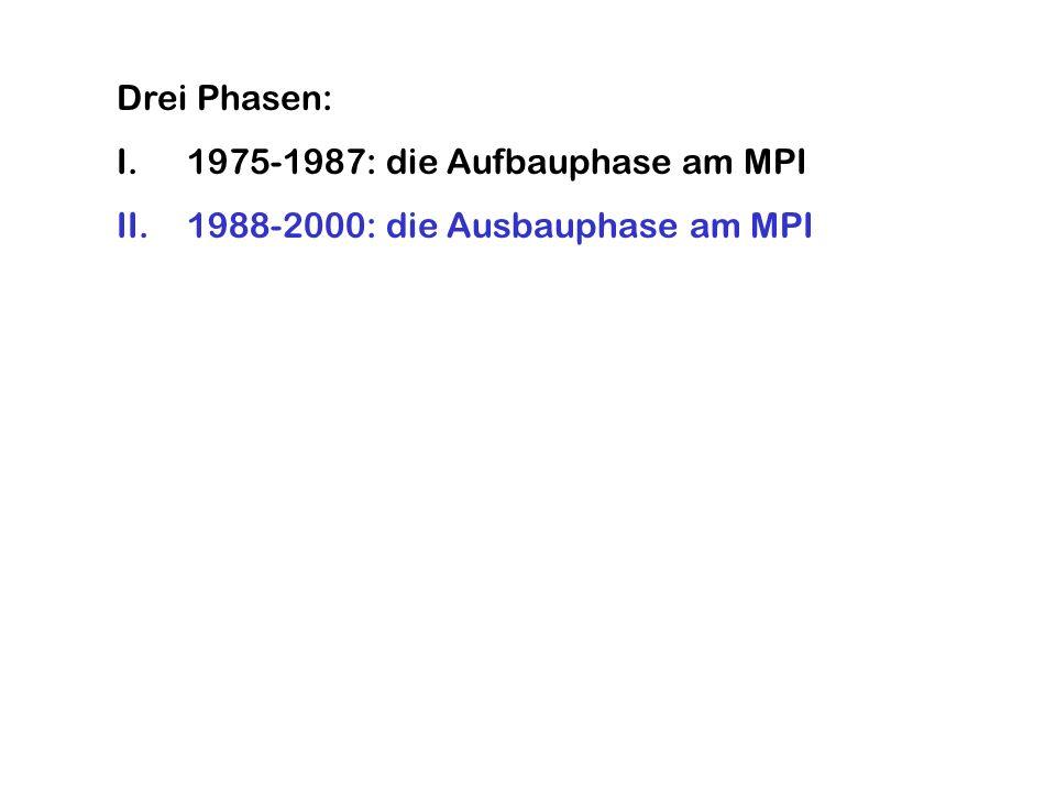 Drei Phasen: I.1975-1987: die Aufbauphase am MPI II.1988-2000: die Ausbauphase am MPI