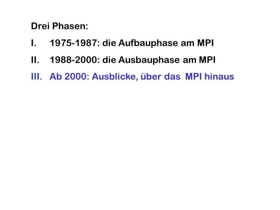 Drei Phasen: I.1975-1987: die Aufbauphase am MPI II.1988-2000: die Ausbauphase am MPI III.Ab 2000: Ausblicke, über das MPI hinaus