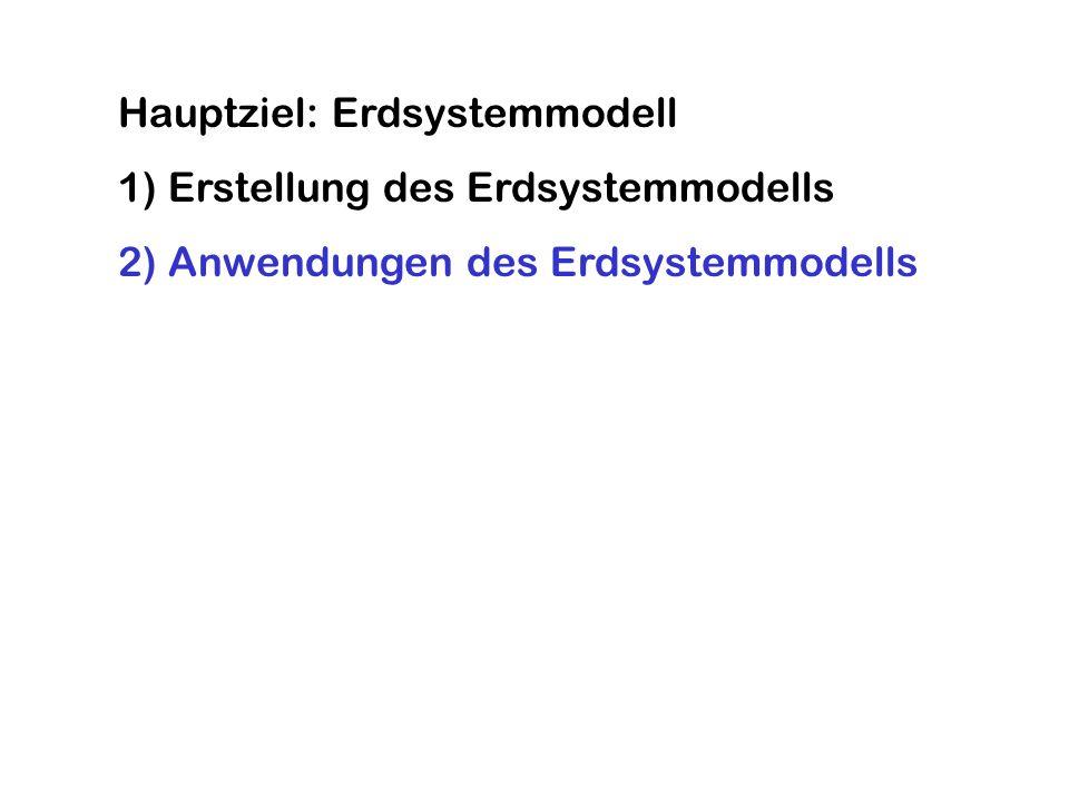 Hauptziel: Erdsystemmodell 1) Erstellung des Erdsystemmodells 2) Anwendungen des Erdsystemmodells
