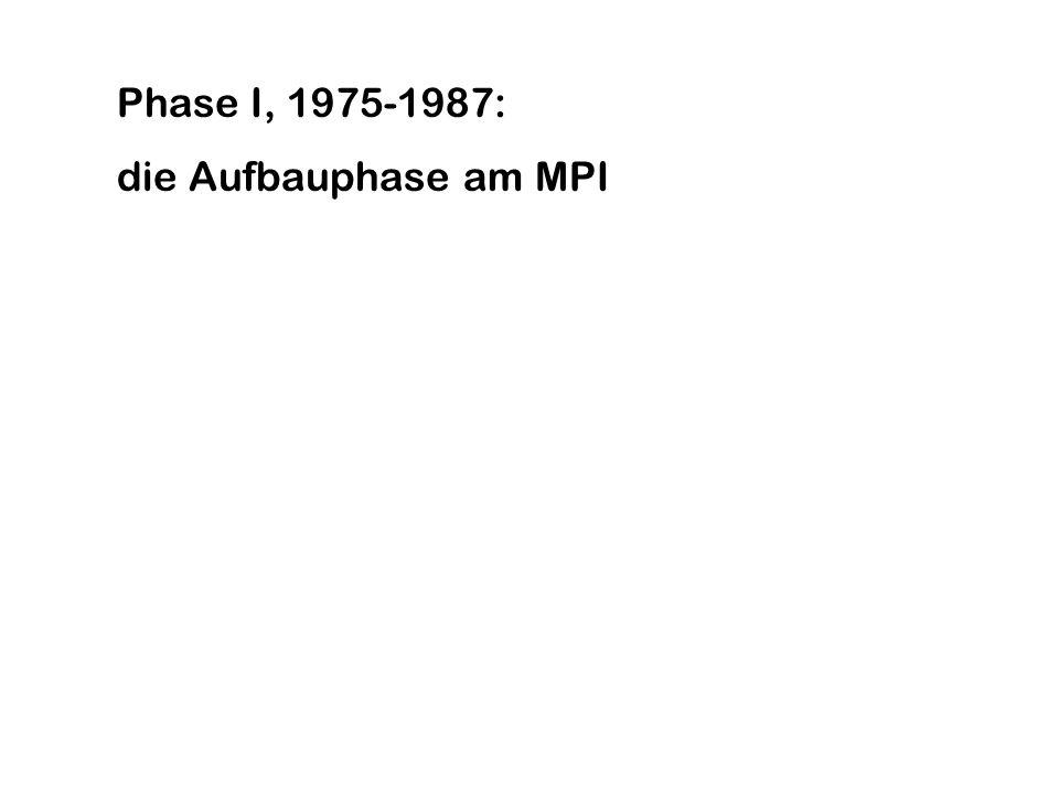 Phase I, 1975-1987: die Aufbauphase am MPI