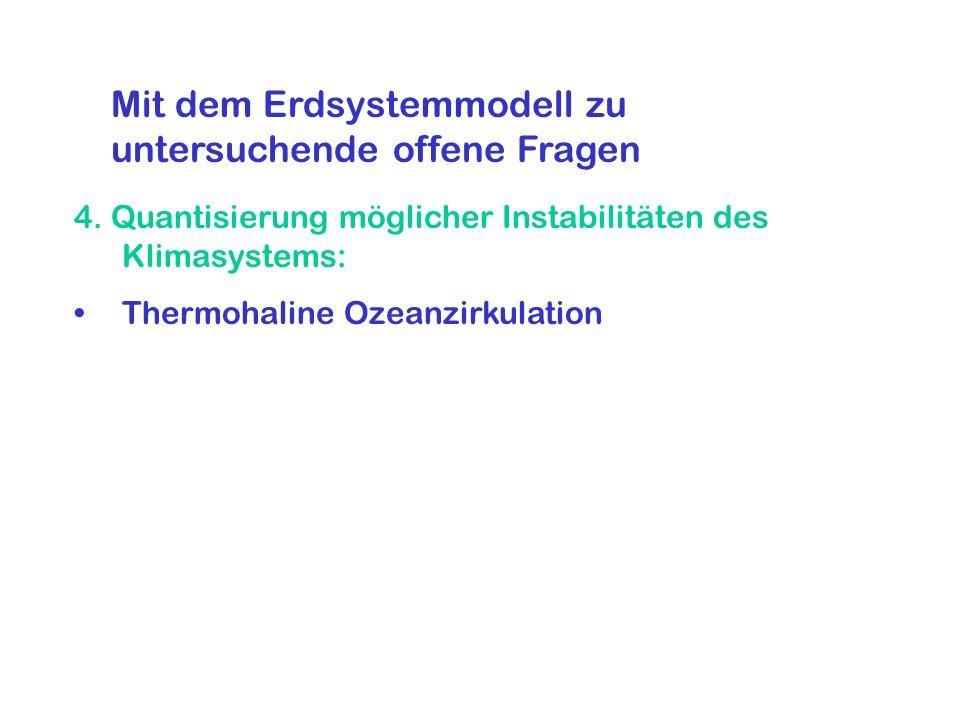 4. Quantisierung möglicher Instabilitäten des Klimasystems: Thermohaline Ozeanzirkulation Mit dem Erdsystemmodell zu untersuchende offene Fragen