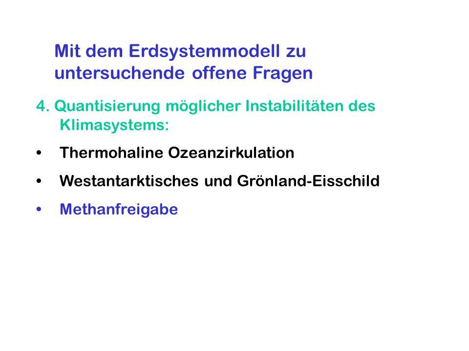 4. Quantisierung möglicher Instabilitäten des Klimasystems: Thermohaline Ozeanzirkulation Westantarktisches und Grönland-Eisschild Methanfreigabe Mit