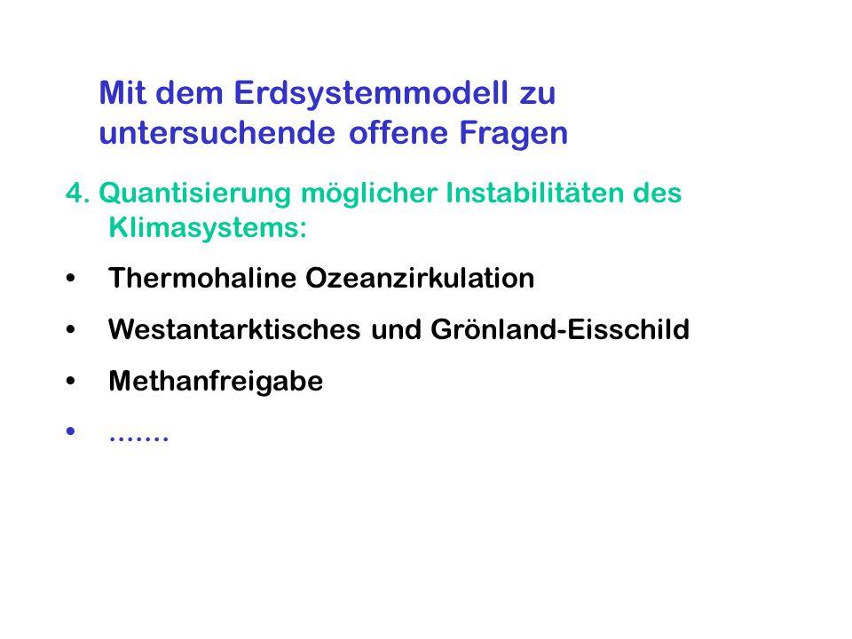 4. Quantisierung möglicher Instabilitäten des Klimasystems: Thermohaline Ozeanzirkulation Westantarktisches und Grönland-Eisschild Methanfreigabe.....