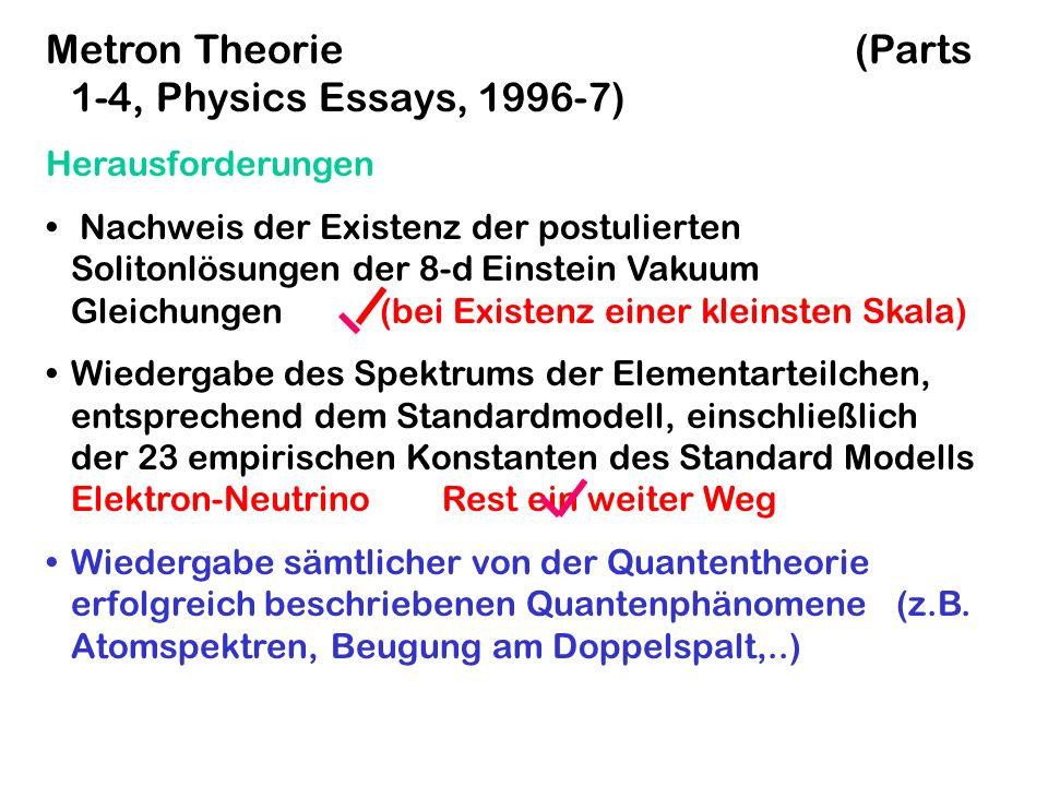 Metron Theorie (Parts 1-4, Physics Essays, 1996-7) Herausforderungen Nachweis der Existenz der postulierten Solitonlösungen der 8-d Einstein Vakuum Gl