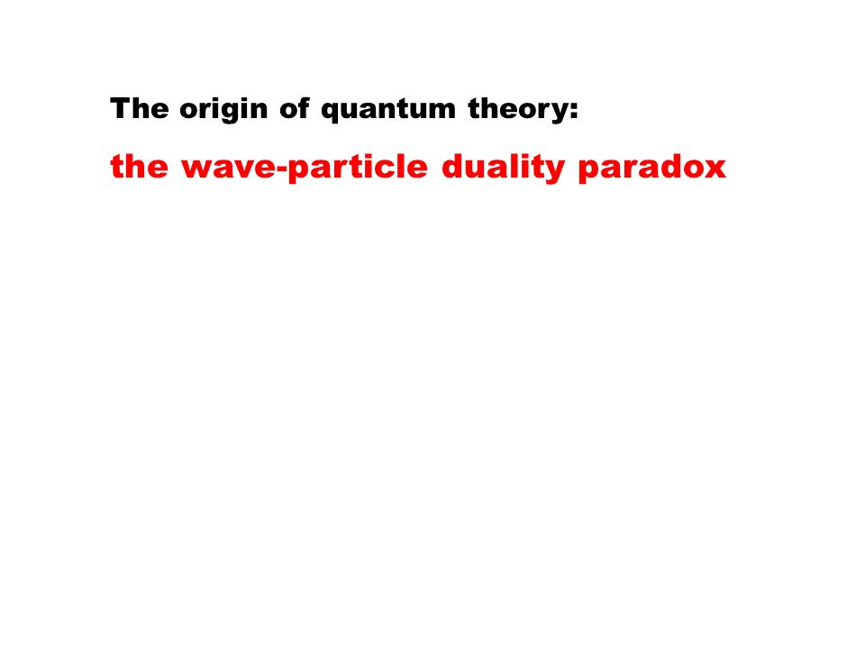 The origin of quantum theory: the wave-particle duality paradox