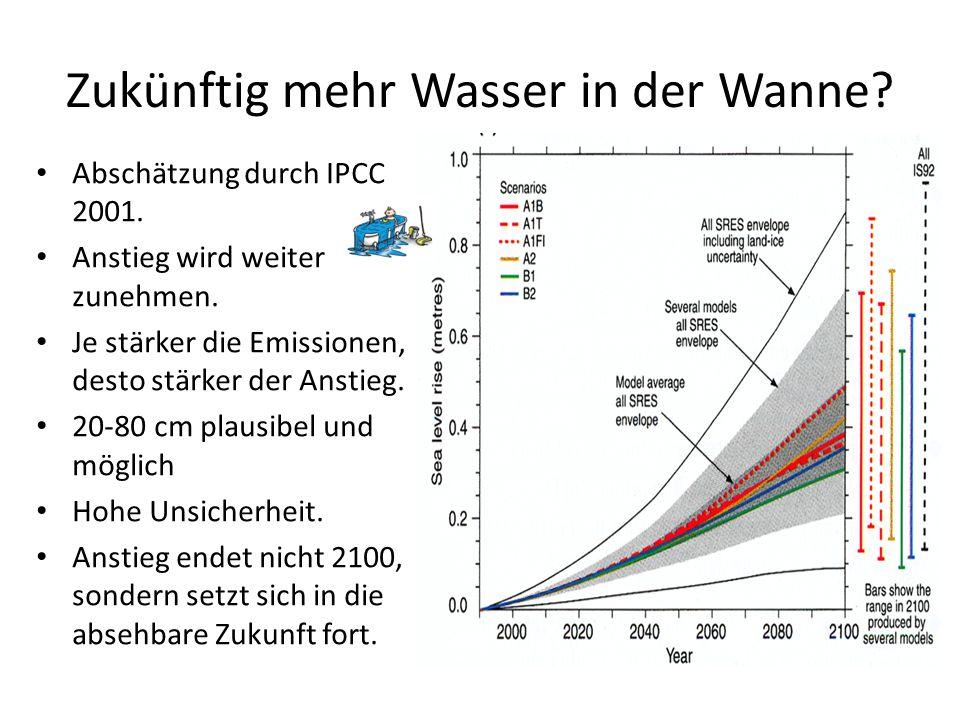Zukünftig mehr Wasser in der Wanne? Abschätzung durch IPCC 2001. Anstieg wird weiter zunehmen. Je stärker die Emissionen, desto stärker der Anstieg. 2